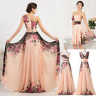 Vintage Floral Chiffon Bridesmaid Evening Party Ball Gown Formal Long Prom Dress