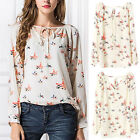 New Fashion Women Chiffon Floral Print Long Sleeve Casual Shirt Tops Blouse
