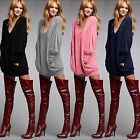 Women Sexy Loose V-Neck Jumper Mini Dress Pullover Casual Blouse Baggy Long Tops