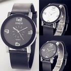 Men's luxury Stainless Steel Round Case Quartz Dial Leather Quartz Wrist Watch