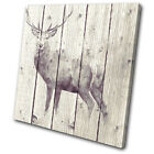 Painting Vintage Stag Deer Animals SINGLE CANVAS WALL ART Picture Print