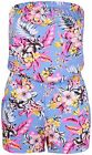 Womens New Floral Print Ladies Bandeau Boob Tube Pocket Shorts Playsuit Jumpsuit