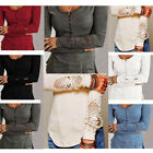 Casual Womens Sexy Tee Shirt Loose Long Sleeve O-Neck Blouse Ladies Cotton Tops