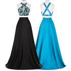 Two-Piece Set Sequins Satin Gown Evening Prom Party Dress A-Line Long Wedding