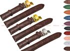 12~24mm Leather Croco Grain Butterfly Stainless Steel Clasp Watch Strap Band