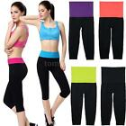 Leggings Exercise Summer Womens Capri Running Yoga Sport Fitness Pants R9QB