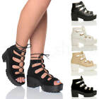 WOMENS LADIES MID HEEL PLATFORM LACE UP PEEPTOE GHILLIE SANDALS ANKLE BOOTS SIZE
