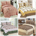 Floral Quilted Bedspreads Set Queen/King Size Patchwork Coverlet Pillow Case New