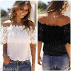 Sexy Womens Shirt Off Shoulder Tops Casual Blouse Lace Crochet Chiffon T-shirts