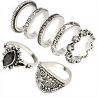 7pcs/set Women Vintage Punk Style Rings Black Rhinestone Decor Rings Set Jewelry