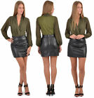 Womens Skirts Leather Look A-Line Mini Skirt Quality PU Sexy PVC Black Size 8-14