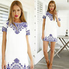 Womens Floral Print Short Sleeve Mini Dress Summer Long Tops T-shirt Shift Dress