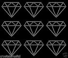 9x 75mm Diamond Outline iron on Rhinestone Transfer crystal hotfix applique
