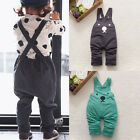 Baby Boy Girls Toddler Bib Pants Overalls Bear Print Harem Pants Long Trousers