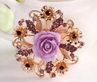 PINK, RED OR LILAC LARGE 2.4*  RESIN ROSE DIAMANTE RHINESTONE CRYSTAL BROOCH PIN