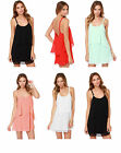 Ladies Beach Flounce Double Layer Dress Cover Up Flower Straps 8 10 12 14 16