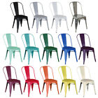 Charles Bentley Metal Steel French Tolix Style Dining Side Chairs - 14 Colours