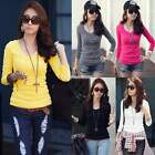 Womens Milk Silk T-Shirt Tops V-Neck Solid Casual Long Sleeve Blouse