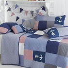 Sashi Bed Linen Sidmouth 100% Cotton Patchwork Quilted Bedspread, Blue/Red/White