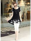 Women Chiffon Blouse Embroidery Crew Neck Short Sleeve Loose Fit Casual Tops