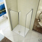 L Shape Walk in Wet Room Shower Enclosure Cubicle Fixed Panel Stone Tray Waste W