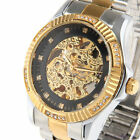 CJIABA Mens Automatic Skeleton Rhinestone Date Stainless Steel Sport Wrist Watch