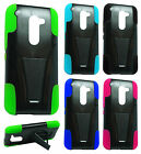 For LG Sunset L33L Advanced Layer HYBRID KICKSTAND Rubber Phone Case Cover