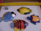 4 VINTAGE BOBBO WOOD FISH & TURTLE MAGNETS BRIGHT COLORS 4 INCHES LONG EACH