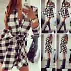 Womens Long Sleeve Plaid Romper Skirt Ladies Party Skater Mini Shirt Wrap Dress