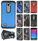 For LG Sunset L33L Rubber IMPACT TRI HYBRID Hard Case Skin Cover +Screen Guard