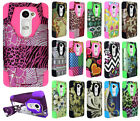 For LG Sunset L33L Turbo Layer HYBRID KICKSTAND Rubber Case Cover Accessory