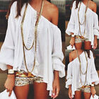Stylish Women Chiffon OFF Shoulder Loose Lace Tops Blouse Summer Casual Shirt