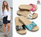 LADIES WOMENS SLIP ON SANDALS MULES SUMMER BEACH FLIP FLOPS PLATFORM SHOES SIZE