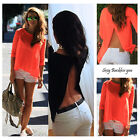 Fashion Women Summer Tops Tee Long Sleeve Shirt Casual Blouse Loose T-shirt Hot