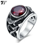 High Quality TT 316L Stainless Steel Snake Ring With Red CZ Size 7-15 (RZ158)