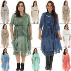 New Ladies Italian Lagenlook Layered Belted 3 Piece Lace Dress Scarf Plus Size