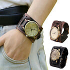 Men Retro Cowhide Leather Wacth Punk Rock Brown Big Wide Bracelet Wrist Watch