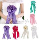 New Satin Rose Wedding Bouquet Bridal Bridesmaid Aartificial Flower Ribbon Pearl