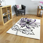 New Small Large Rugs Easy Clean Floral Purple Rugs Soft Cream Living Room Mats