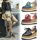 Retro Brogues Goth Womens Platform Ankle Strap Pointed Toe Wedge Oxford Shoes