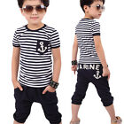 Casual Children Clothing Boys Navy Striped T-shirt Blouse + Pants Suits For 2-7Y