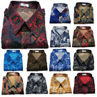 Mens Thai Silk Blend Patterned Shirts Short Sleeve Casual Paisley Hawaiian Camp
