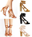 Womens Ladies high wooden block heel rope ankle lace up summer sandals size