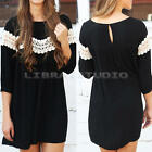 Women's Fashion Girl Loose Lace 3/4 Sleeve Cocktail Party Short Mini Dress Tops