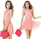 Women's Pink Polka Dot Chiffon Sexy Backless Sundress Casual Party Mini Dress