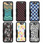 For LG K10 NATURAL TUFF Hybrid Rubber Hard Snap-on Case Black Black 7Colors