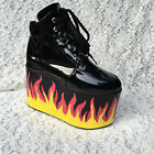 Lolita Punk Gothic Cosplay Platform Flame Bottom Ankle Boots Shoes 5215n
