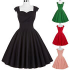 Vintage Style Retro 1940s 50s Dress Black Cocktail Party Pinup Swing Dresses