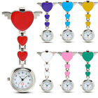 Stainless Steel Wing Heart Quartz Pocket Clip-on Hanging Brooch Fob Nurse Watch