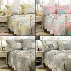 PATCHWORK QUILTED BEDSPREAD BED DUVET QUILT THROW COVER NEW CREAM GREY PINK BLUE